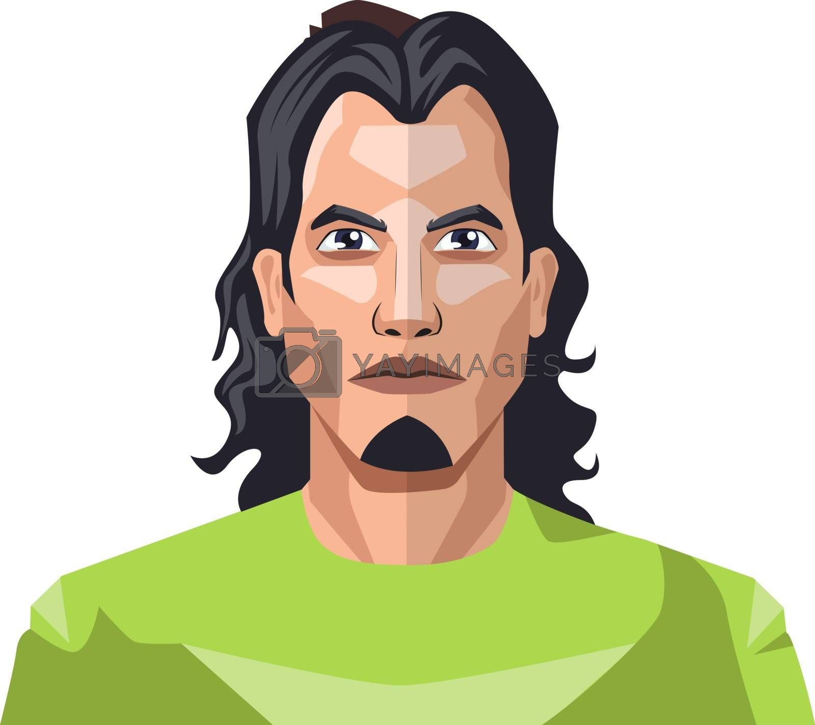 Royalty free image of Handsome man with a long black hair and small beard illustration by Morphart