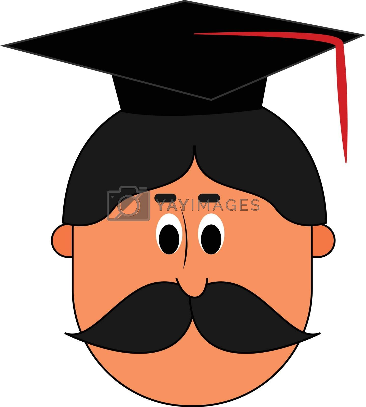 Royalty free image of Cartoon face of a professor wearing a hood, vector or color illu by Morphart
