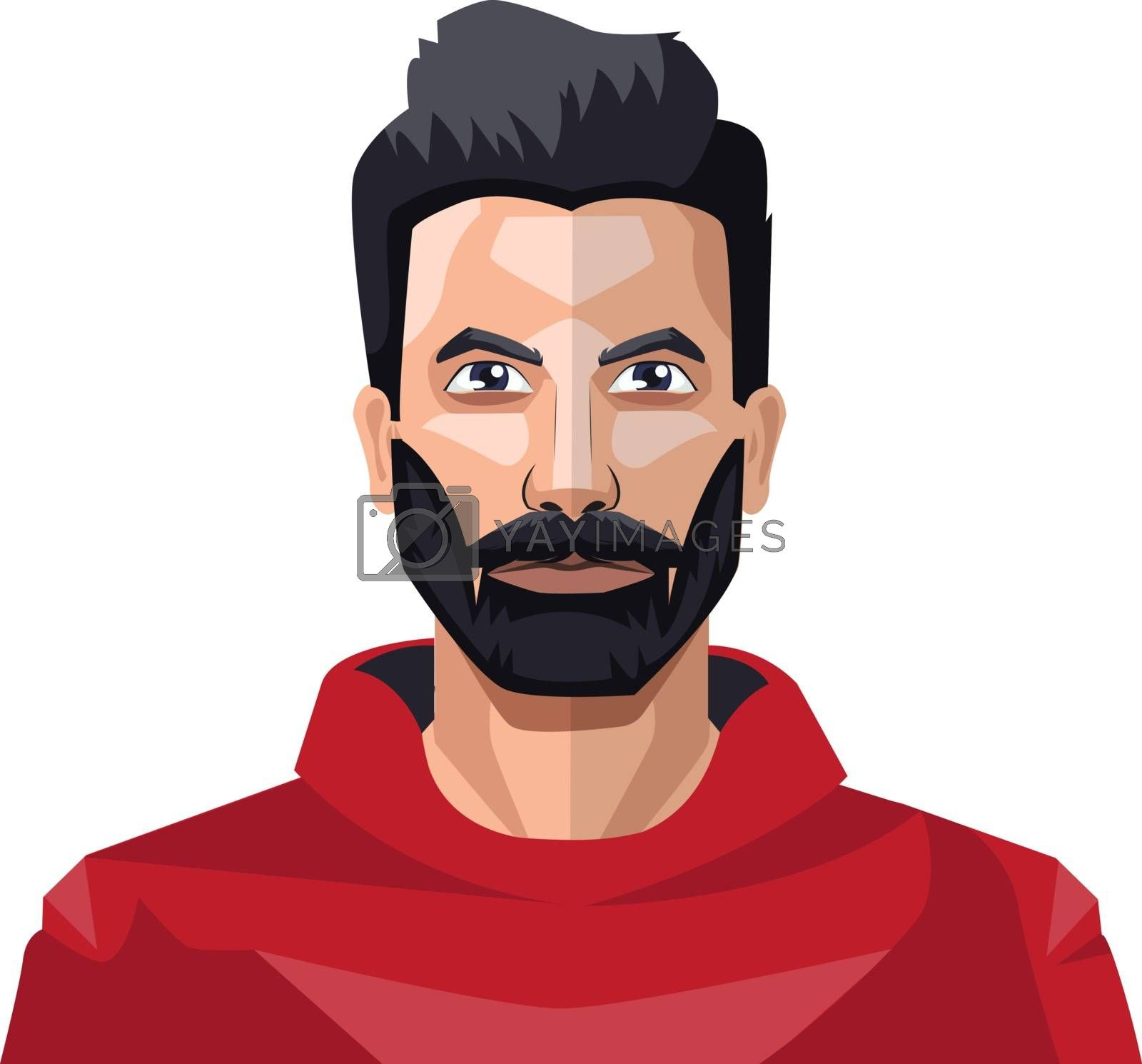 Royalty free image of Guy with a full beard in the red shirt illustration vector on wh by Morphart