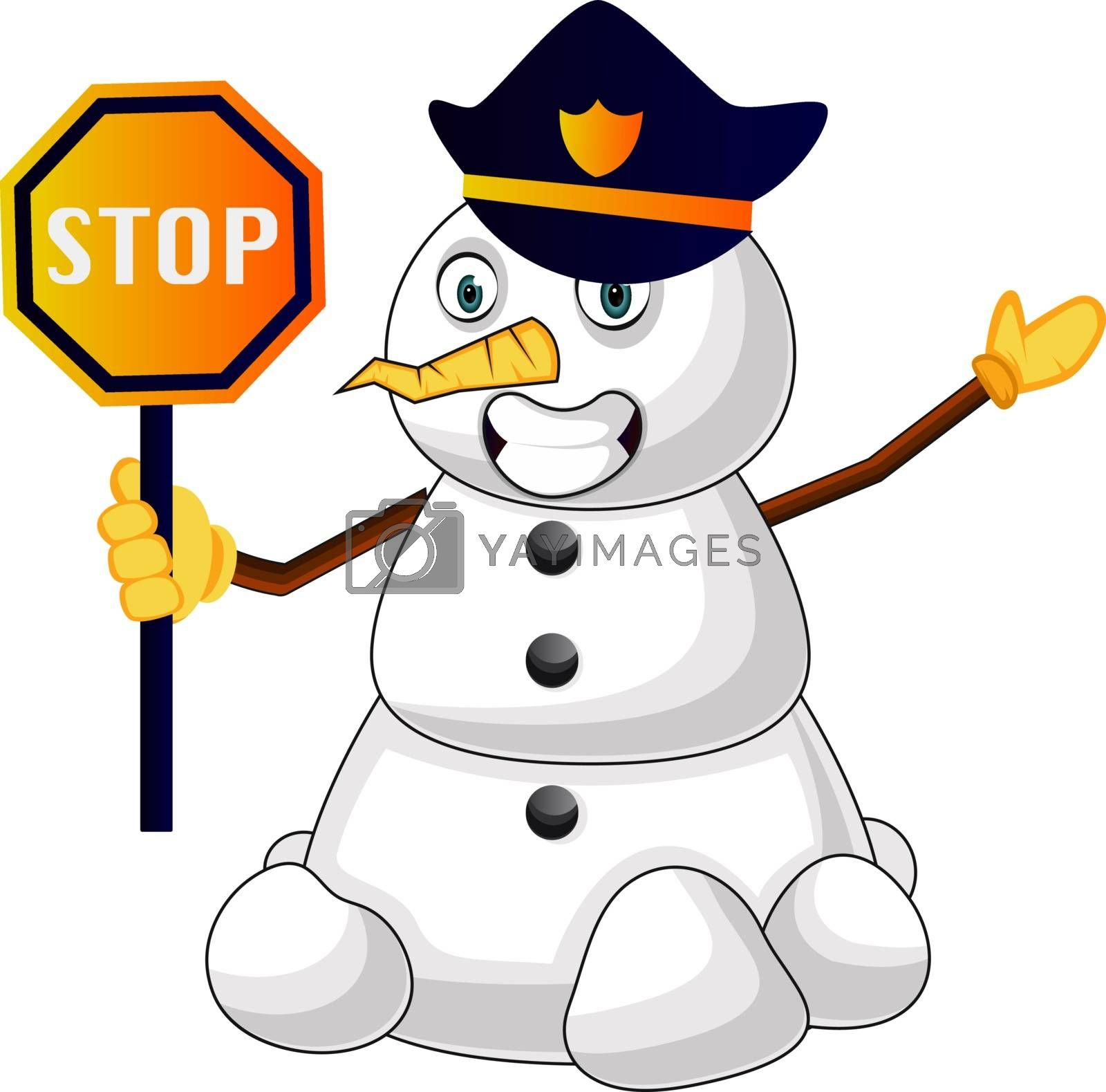 Royalty free image of Police snowman illustration vector on white background by Morphart