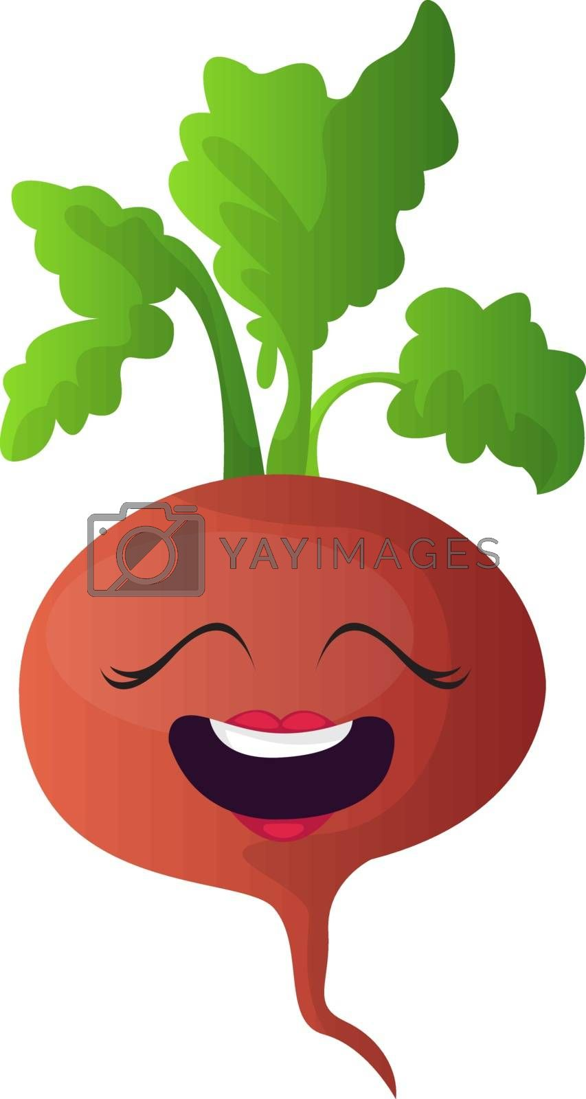 Royalty free image of Happy red turnip with green leaf illustration vector on white ba by Morphart