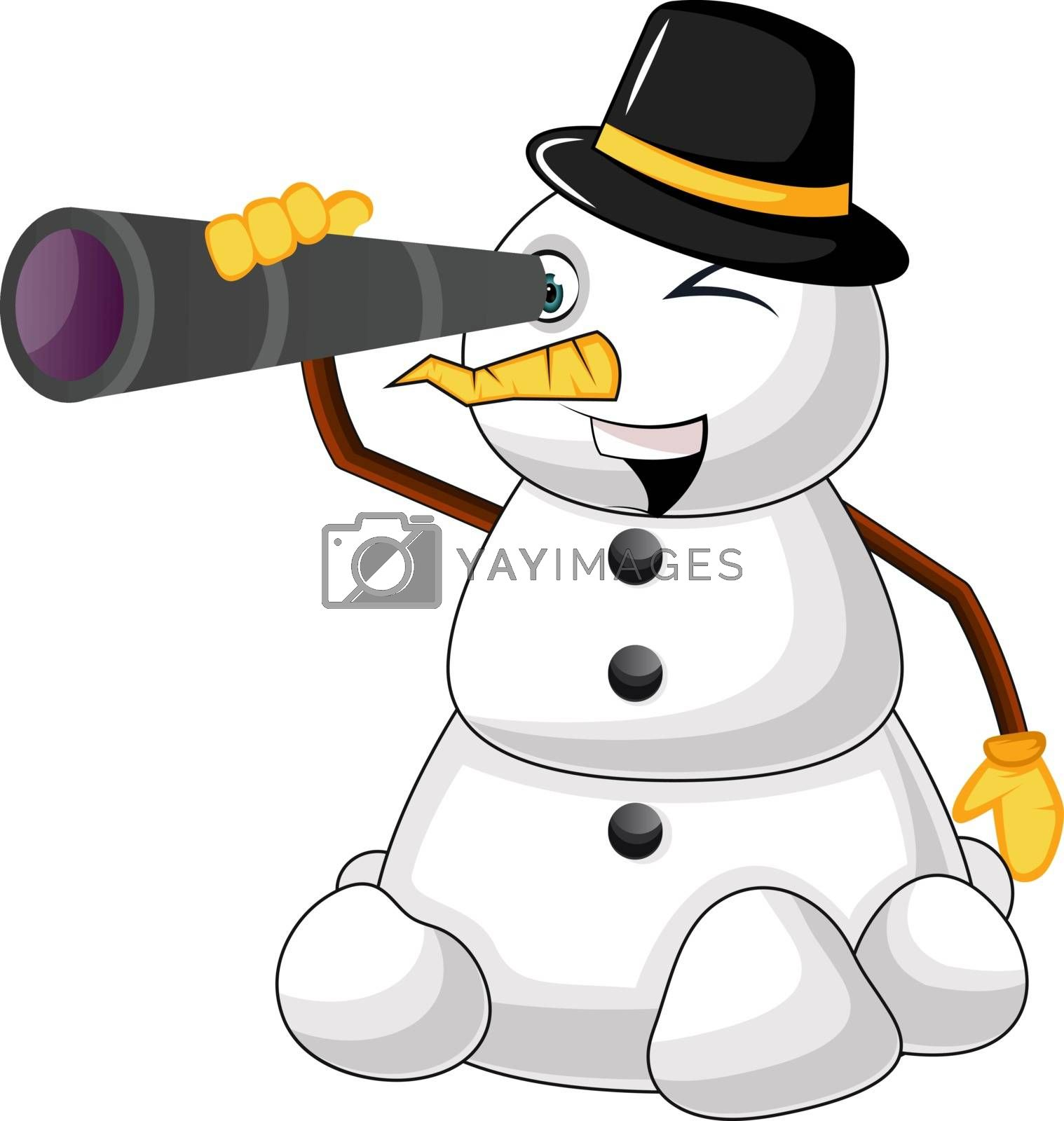 Royalty free image of Snowman with telescope illustration vector on white background by Morphart
