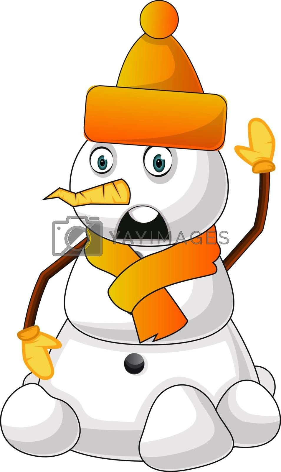 Royalty free image of Snowman with orange hat illustration vector on white background by Morphart