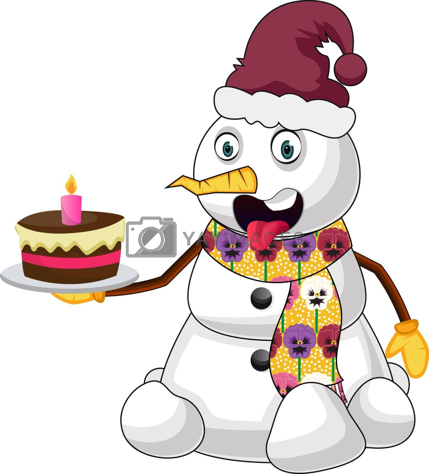 Royalty free image of Snowman with cake illustration vector on white background by Morphart