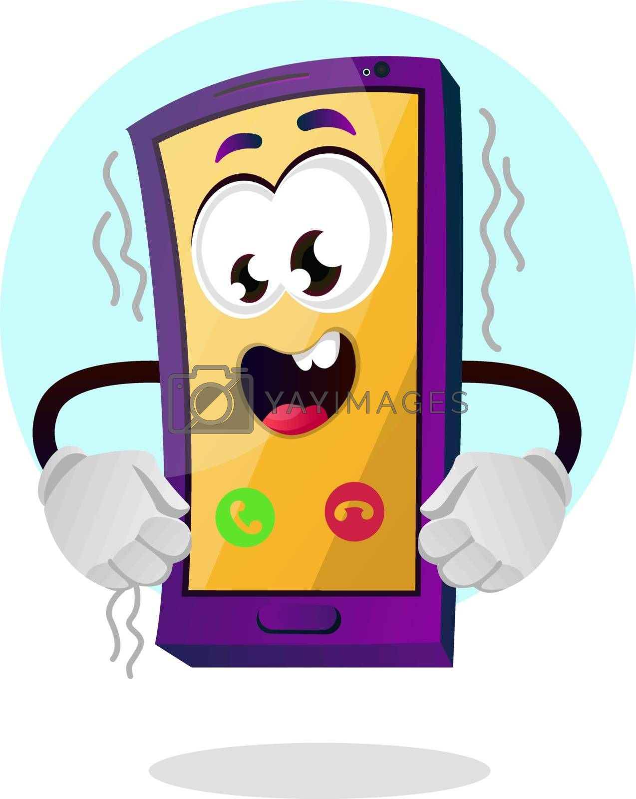 Royalty free image of Happy yellow mobile emoji illustration vector on white backgroun by Morphart