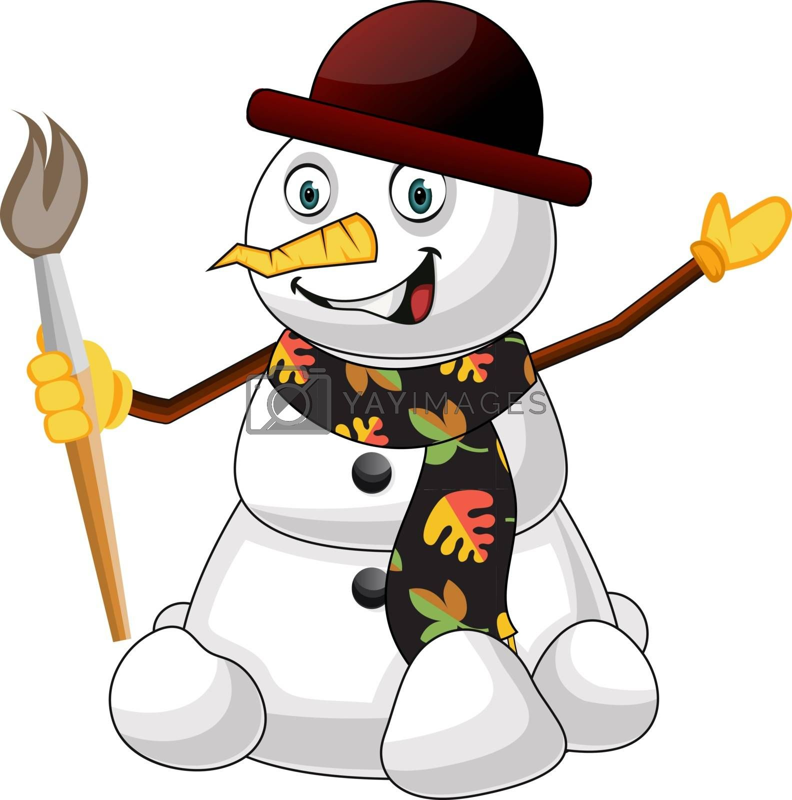 Royalty free image of Snowman with brush illustration vector on white background by Morphart