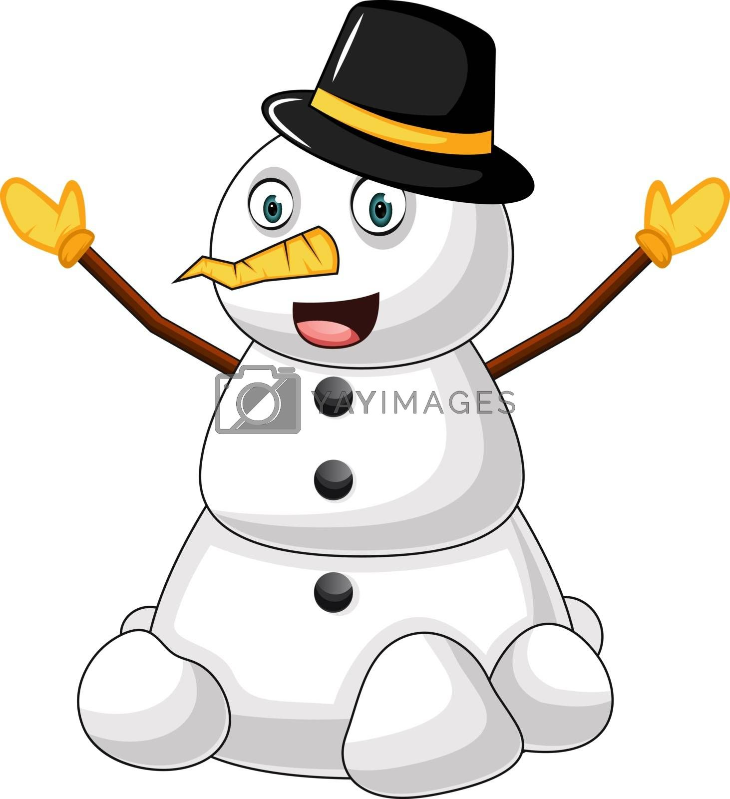 Royalty free image of Snowman with hat illustration vector on white background by Morphart