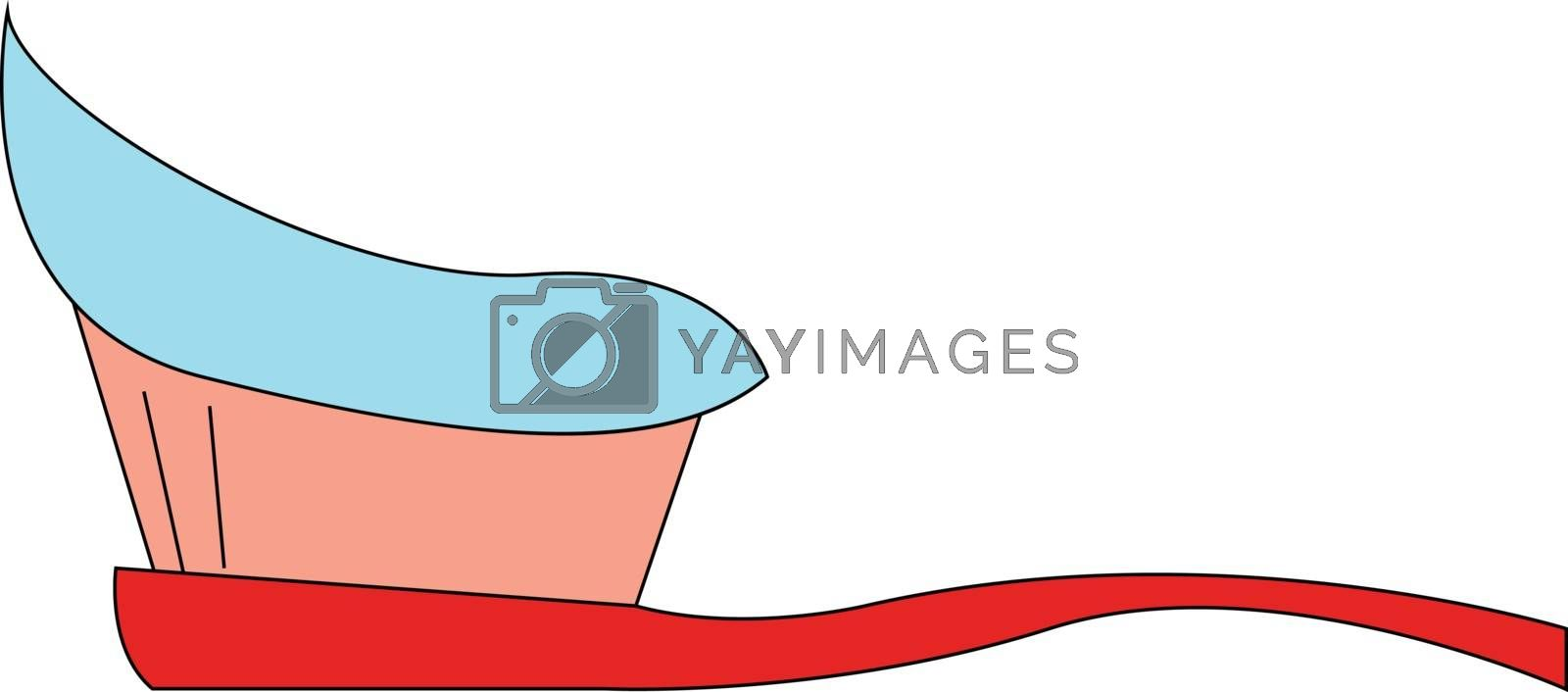 Toothbrush hand drawn design, illustration, vector on white background.