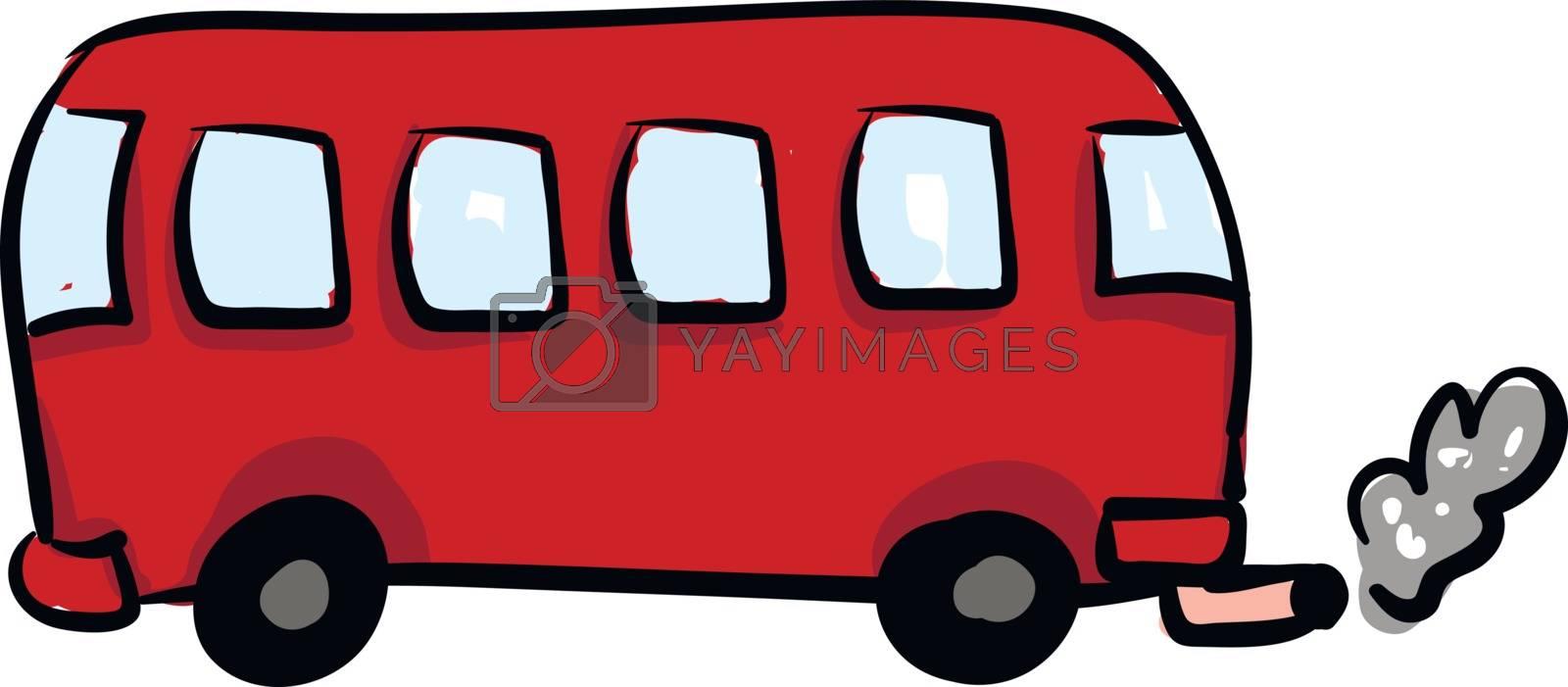 Red avtobus, vector or color illustration.  by Morphart