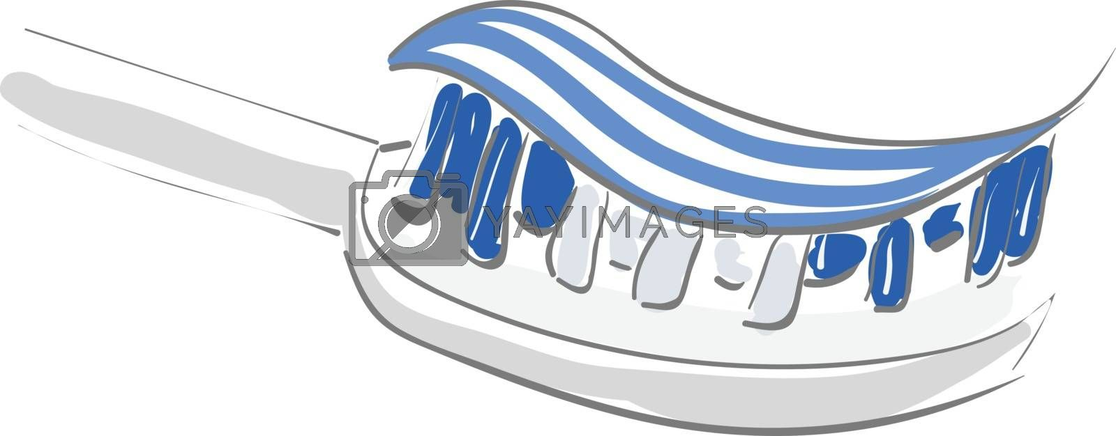 Painting of a toothbrush with white and blue striped toothpaste set on isolated white background viewed from the side, vector, color drawing or illustration.