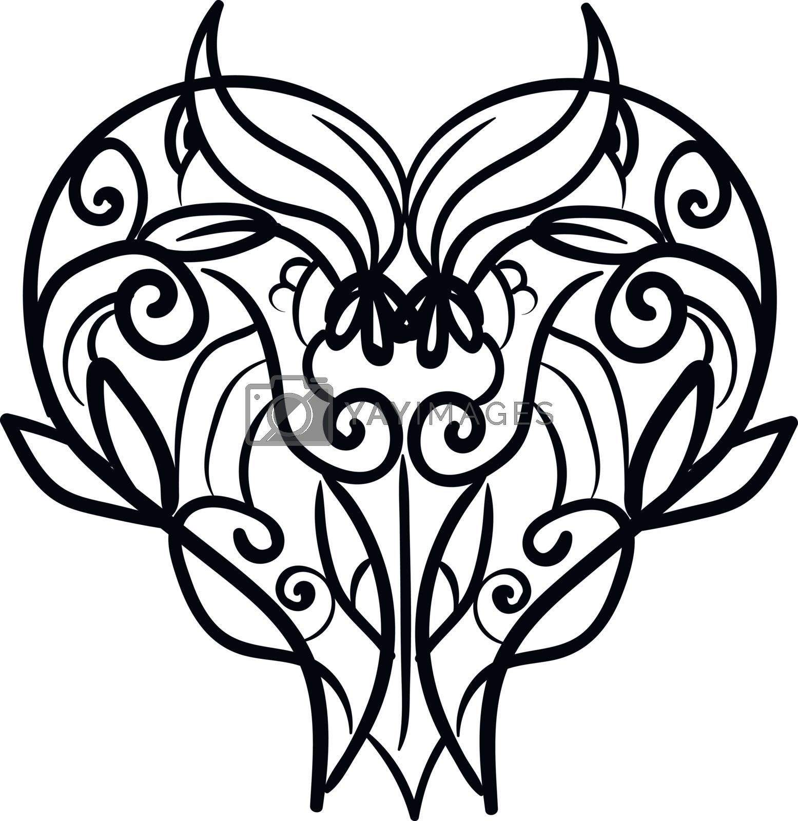 A black and white drawing of a heart shape ornament, vector, color drawing or illustration.
