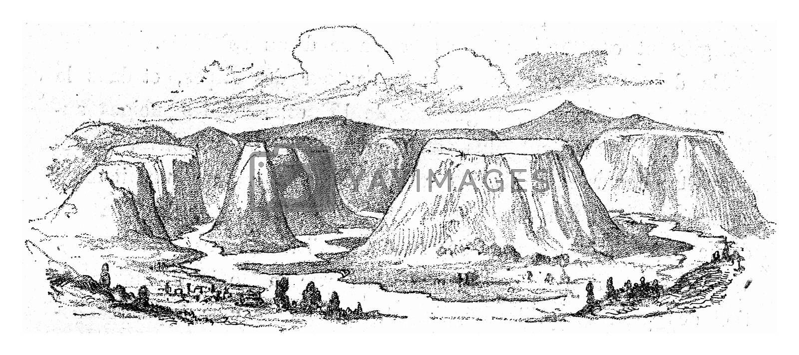 Erosion and denudation of a plateau by running water, vintage engraved illustration. From Natural Creation and Living Beings.
