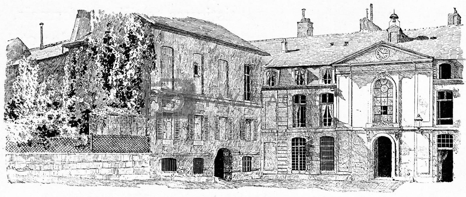 The old buildings of the Gobelins, vintage engraved illustration. Paris - Auguste VITU – 1890.