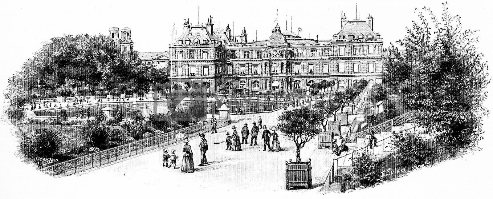 The grand facade of the Palace Garden, vintage engraved illustration. Paris - Auguste VITU – 1890.