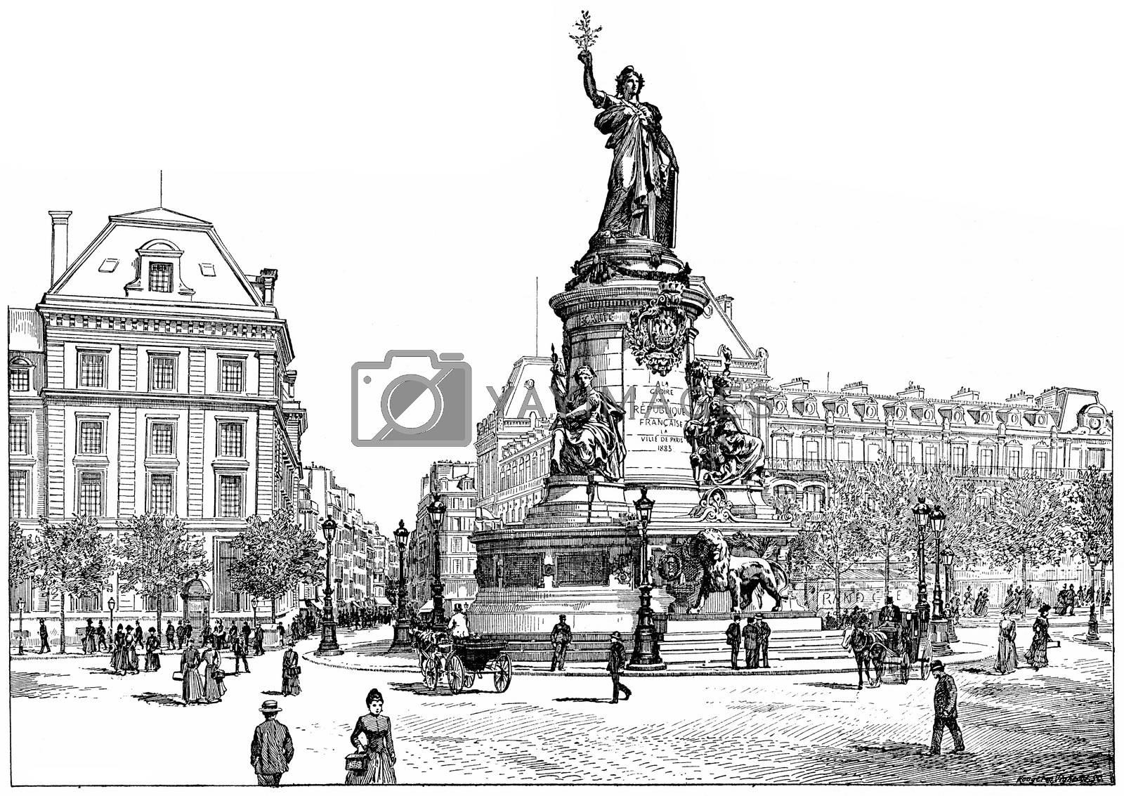 Republic Square, vintage engraving. by Morphart