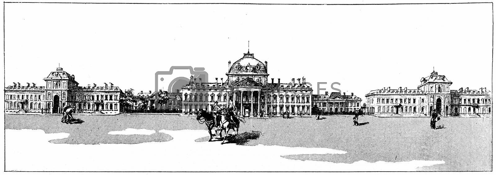 The palace of the Military Academy, vintage engraved illustration. Paris - Auguste VITU – 1890.
