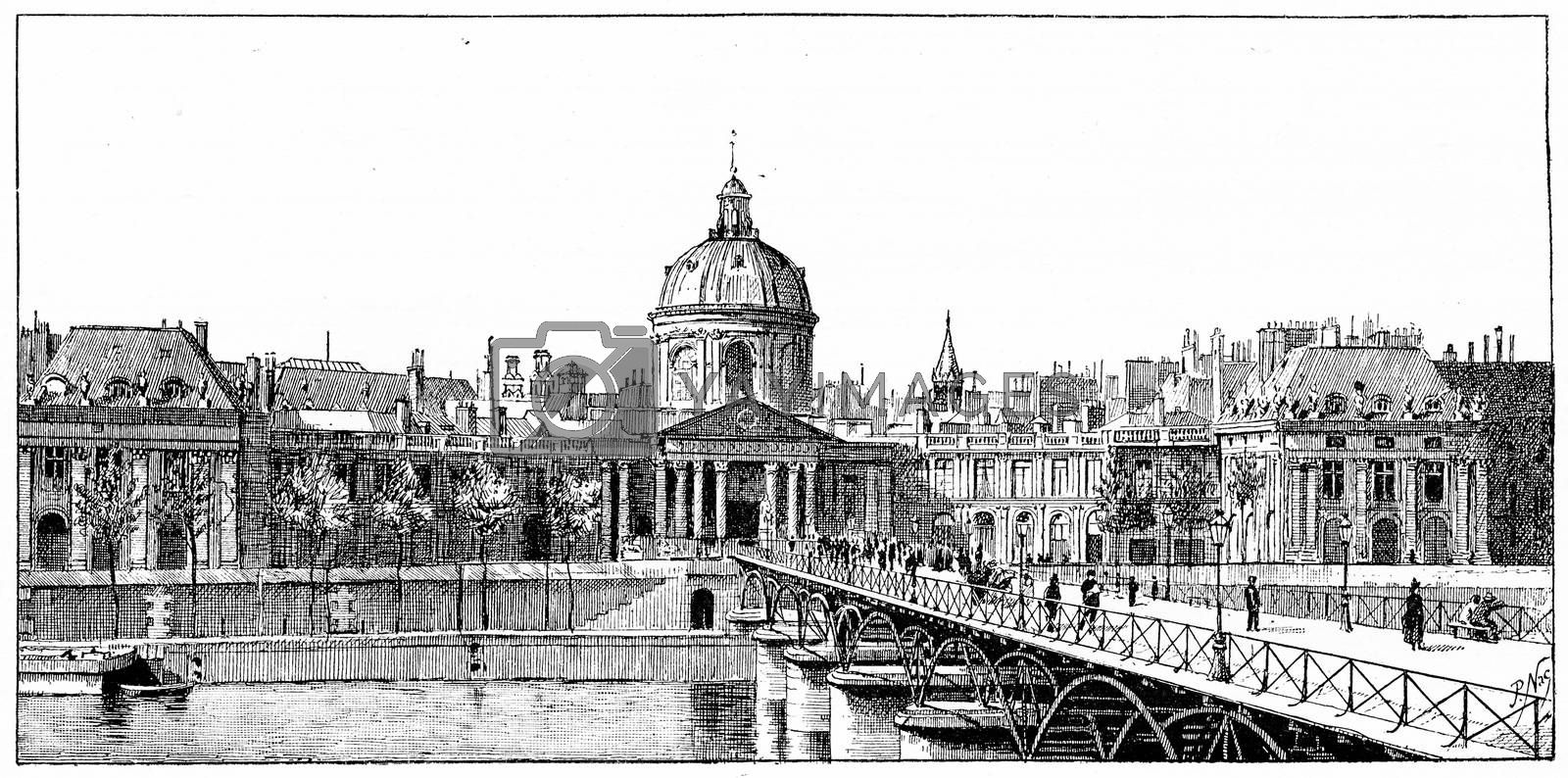 The palace of the Institute and the bridge of Arts, vintage engraved illustration. Paris - Auguste VITU – 1890.