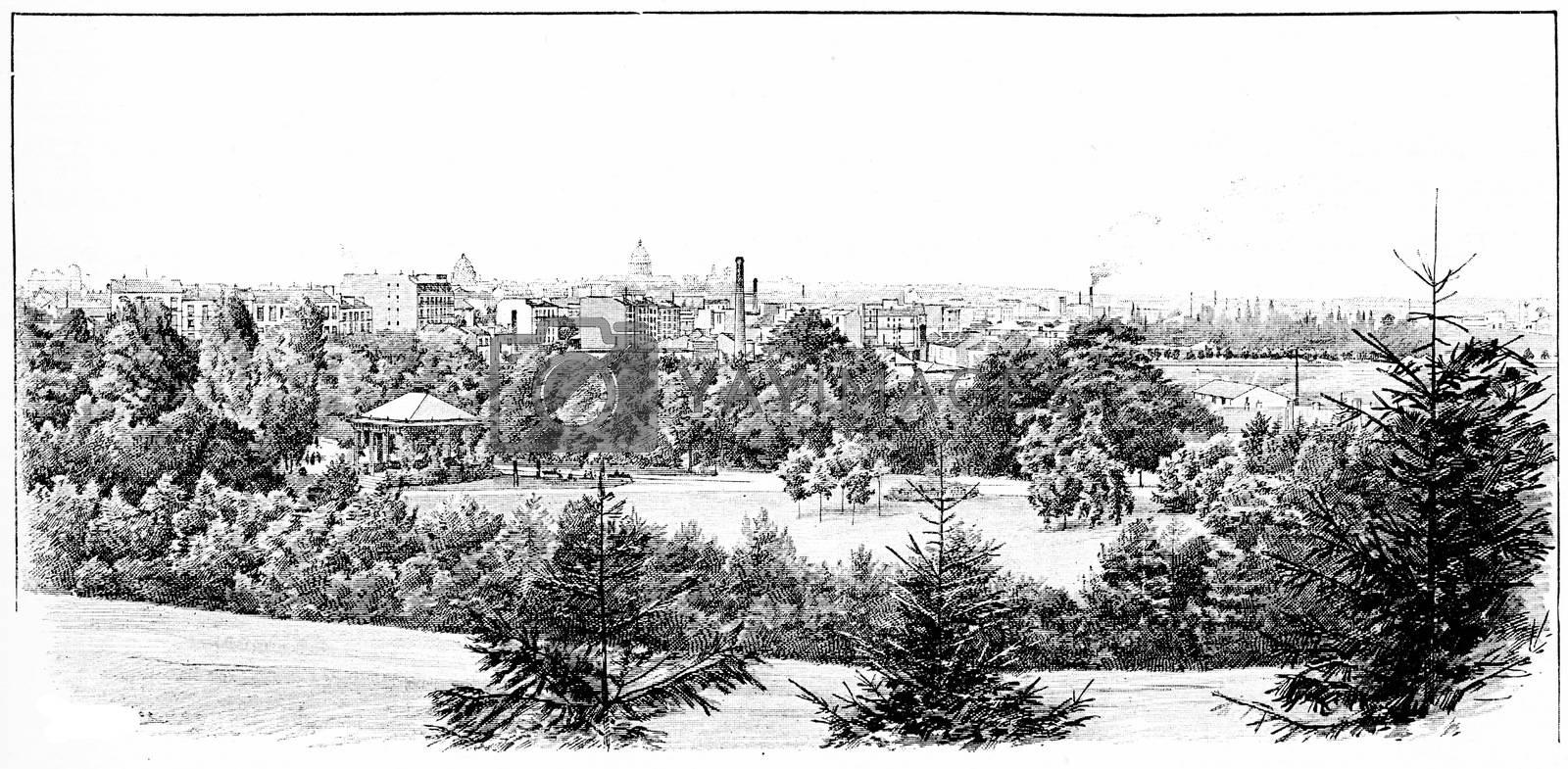 Panorama taken the Parc Montsouris, vintage engraved illustration. Paris - Auguste VITU – 1890.
