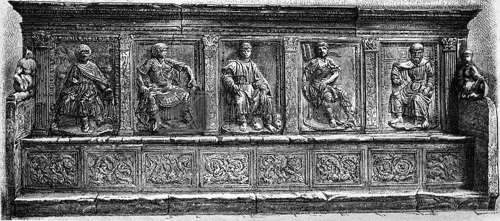 One of the benches of the Lodge of Merchants in Siena, vintage engraved illustration. Magasin Pittoresque 1877.