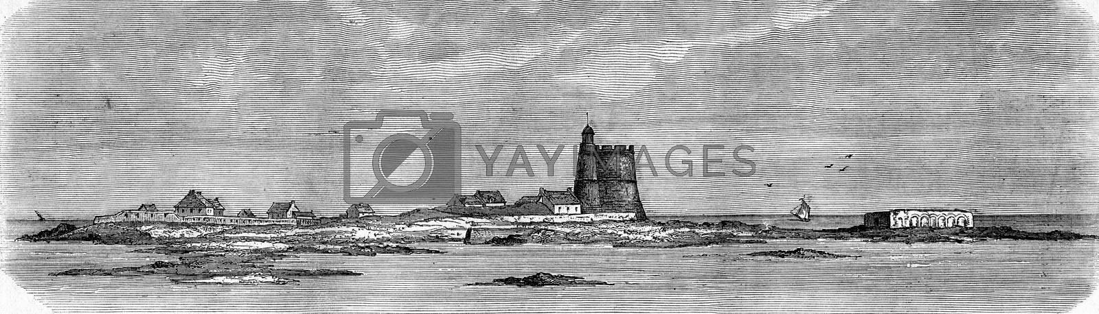 Saint-Vaast La Hougue, Tatihou Island and Lazaretto at low tide, vintage engraved illustration. Magasin Pittoresque 1880.
