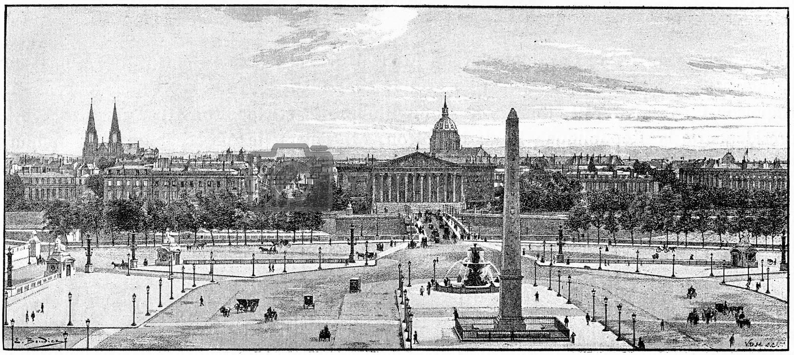 Place de la Concorde, vintage engraved illustration. Paris - Auguste VITU – 1890.