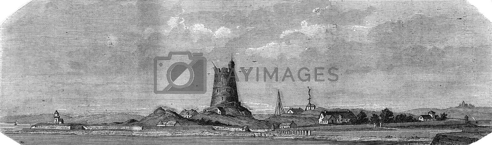 Saint Vaast La Hougue, Manche, Fort la Hougue, vintage engraved illustration. Magasin Pittoresque 1880.