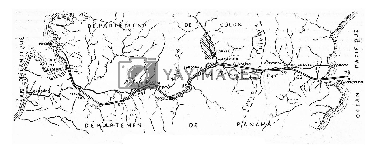 Map of the Panama Canal, vintage engraved illustration. Industrial encyclopedia E.-O. Lami - 1875.