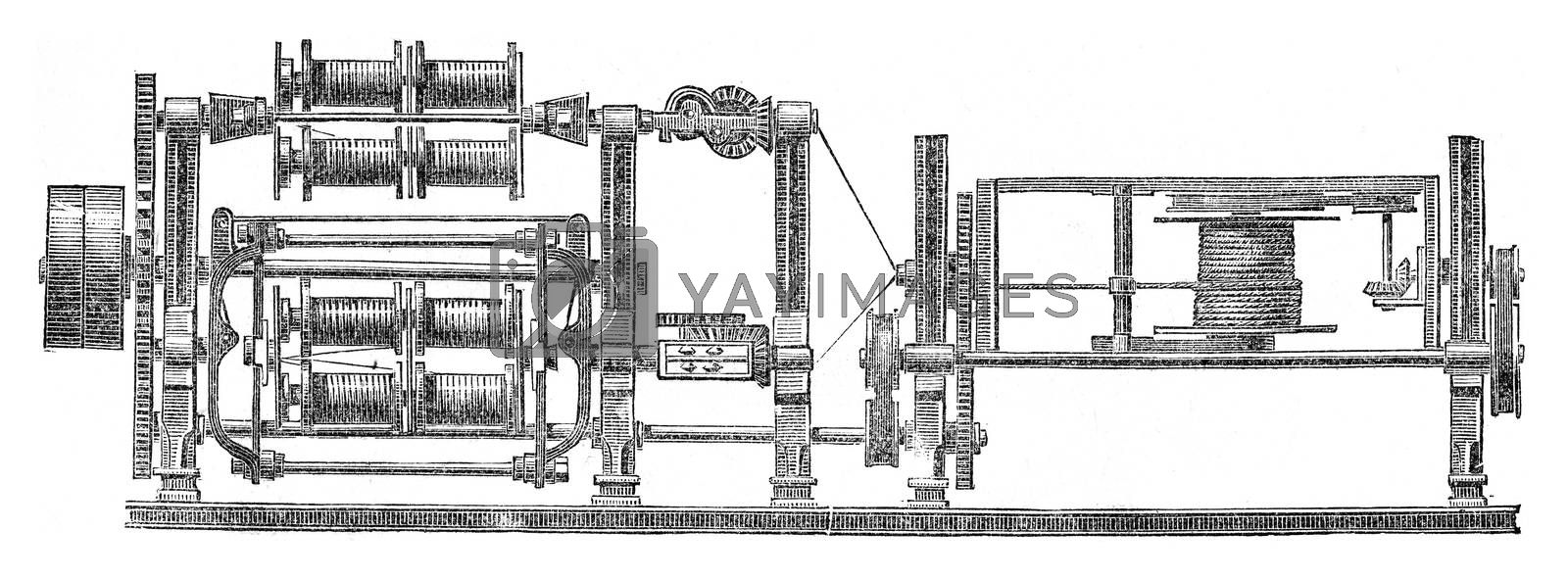 Machine manufacture the cables in one go, vintage engraved illustration. Industrial encyclopedia E.-O. Lami - 1875.