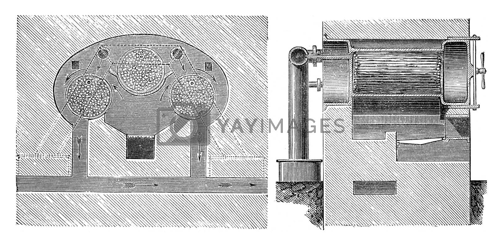 Fig.586. Cross section, Fig.587. Longitudinal section, vintage engraved illustration. Industrial encyclopedia E.-O. Lami - 1875.