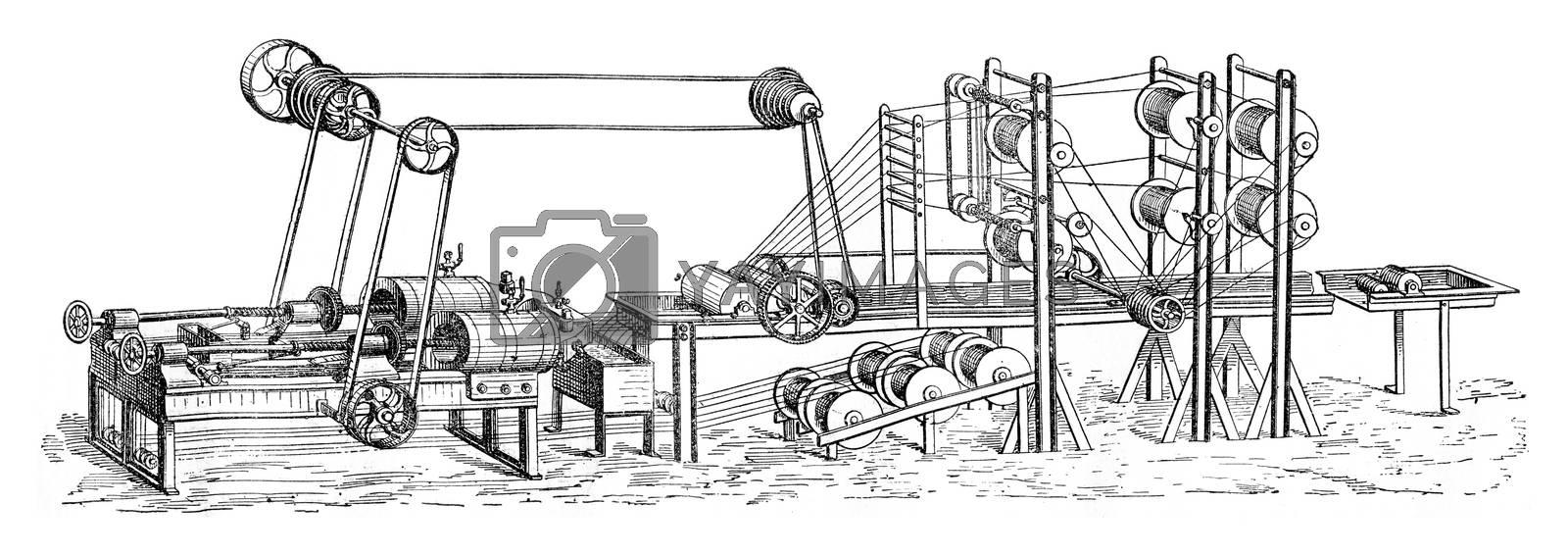 Machine cover of gutta percha, vintage engraved illustration. Industrial encyclopedia E.-O. Lami - 1875.