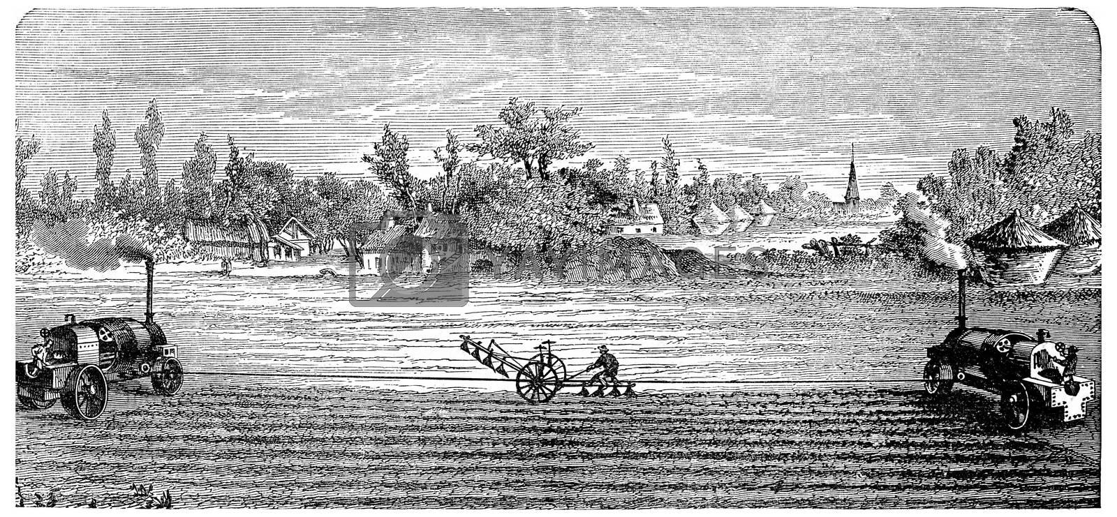 Steam Ploughing, vintage engraved illustration. Industrial encyclopedia E.-O. Lami - 1875.
