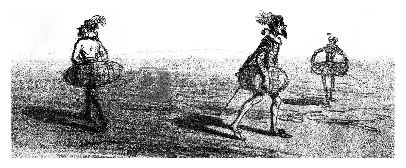 After long standing in a happy medium, vintage engraved illustration. From The Tortures of Fashion.