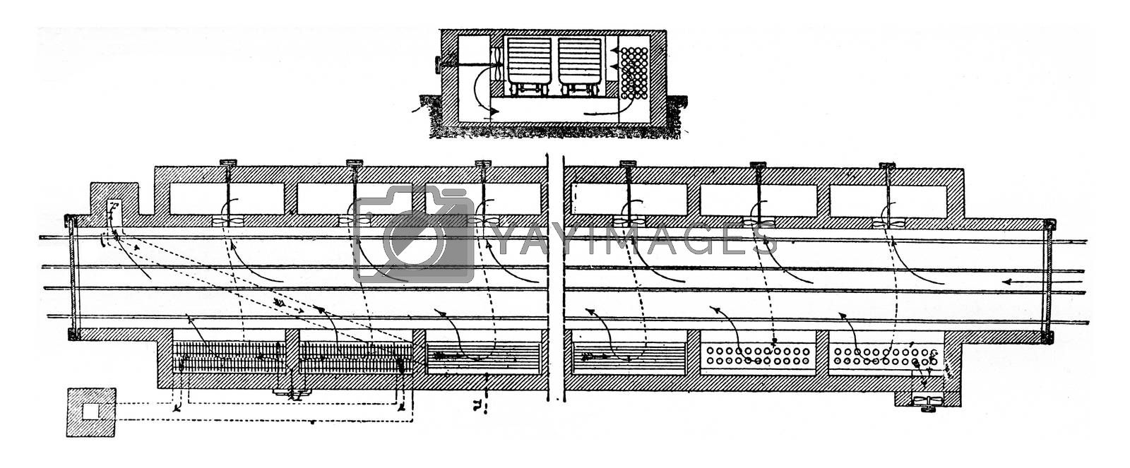 Dryer Moeller and Pfeiffer, vintage engraved illustration. Industrial encyclopedia E.-O. Lami - 1875.