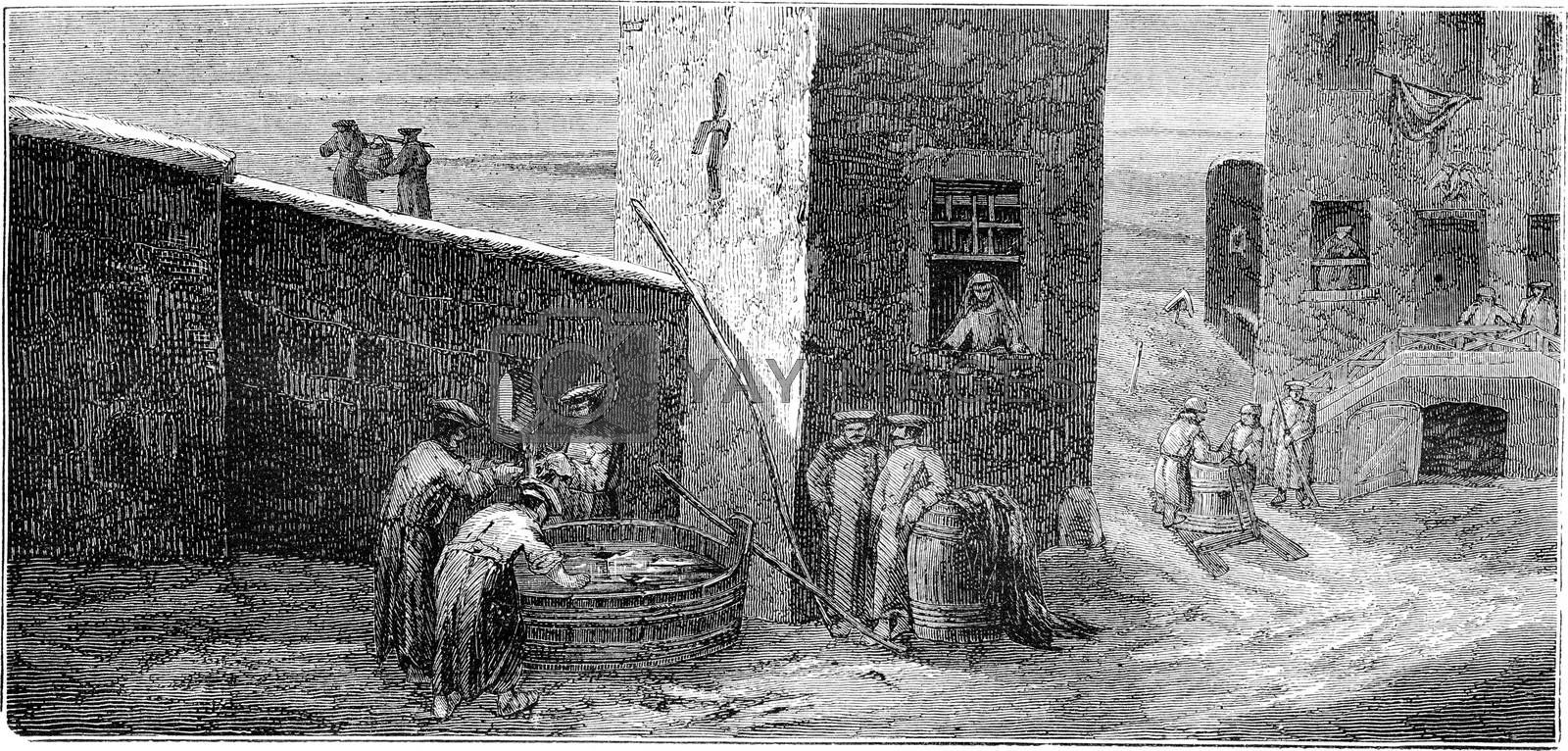 Soldiers stationed at the well (Riga), vintage engraved illustration. Le Tour du Monde, Travel Journal, (1865).