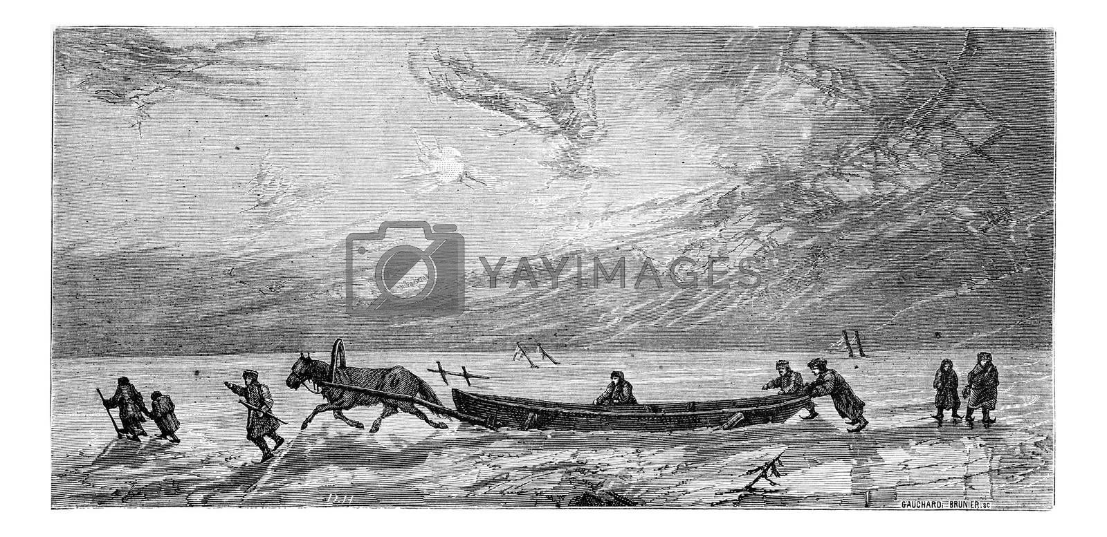 Dragging a boat on the ice of Düna, vintage engraving. Le Tour du Monde, Travel Journal, (1865).