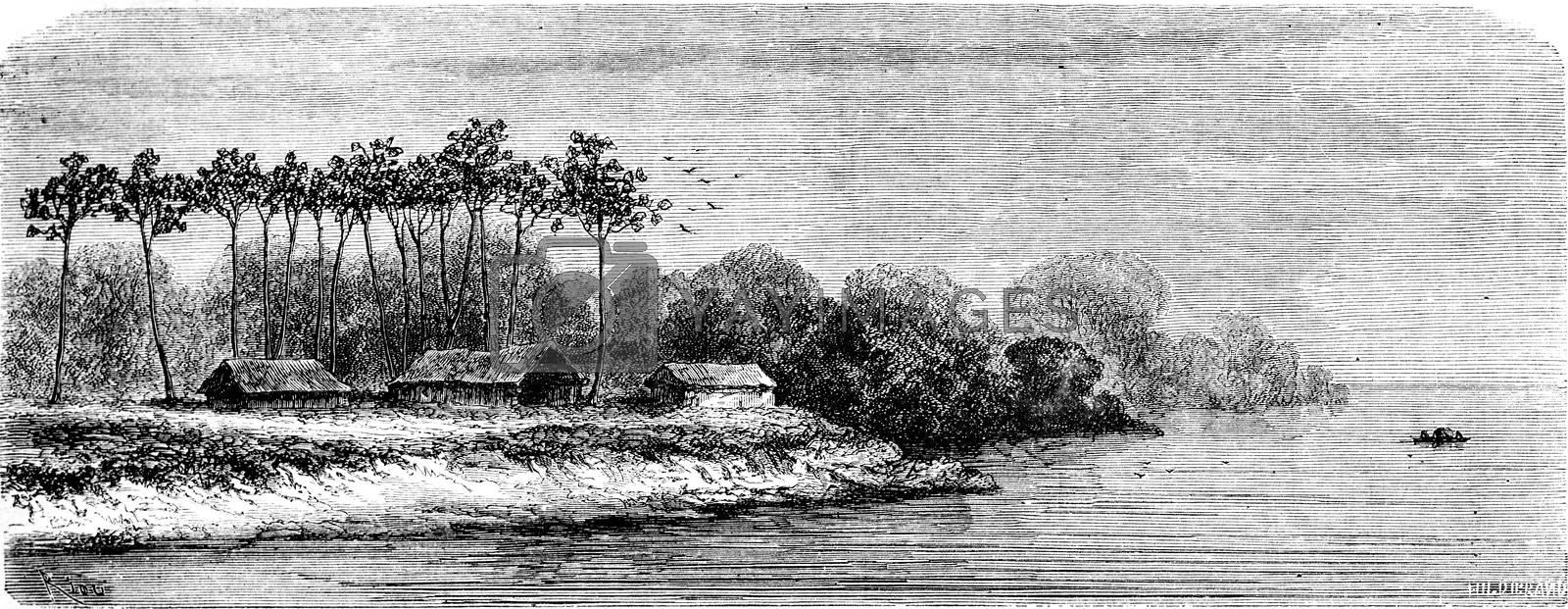 Accommodation Piros-Chontaquiros, vintage engraved illustration. Le Tour du Monde, Travel Journal, (1865).
