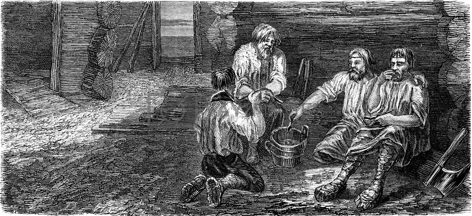 Dining carpenters at Dorpat, vintage engraved illustration. Le Tour du Monde, Travel Journal, (1865).