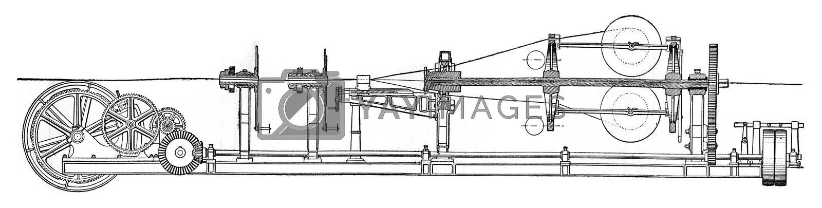 Stranding machine, vintage engraved illustration. Industrial encyclopedia E.-O. Lami - 1875.