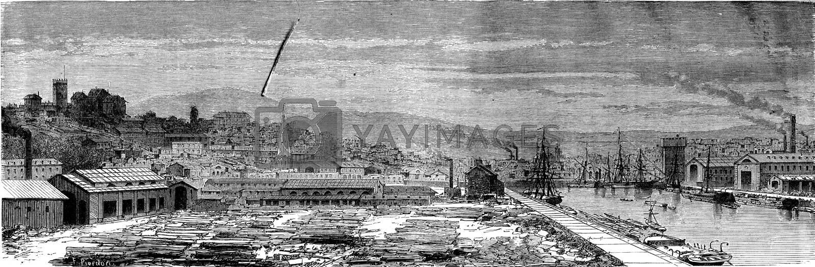 View of Newport, vintage engraved illustration. Le Tour du Monde, Travel Journal, (1865).