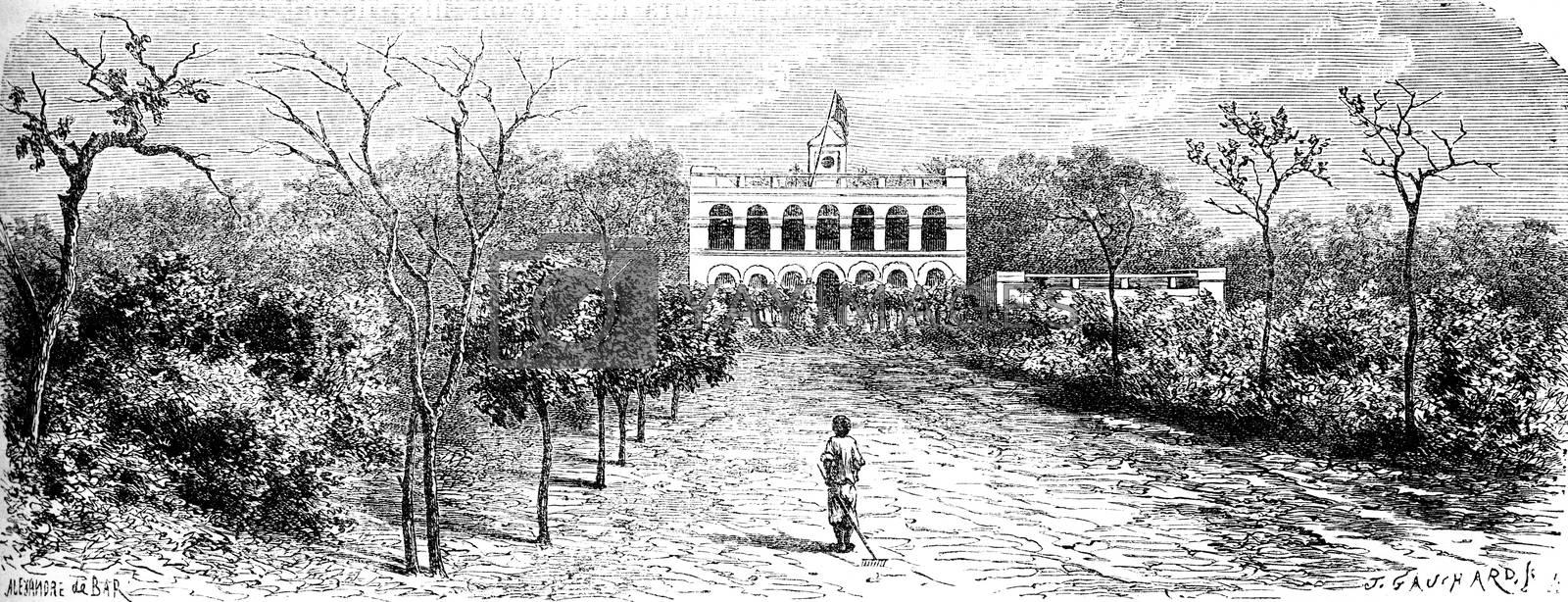 Castle Richard Toll, vintage engraved illustration. Le Tour du Monde, Travel Journal, (1872).