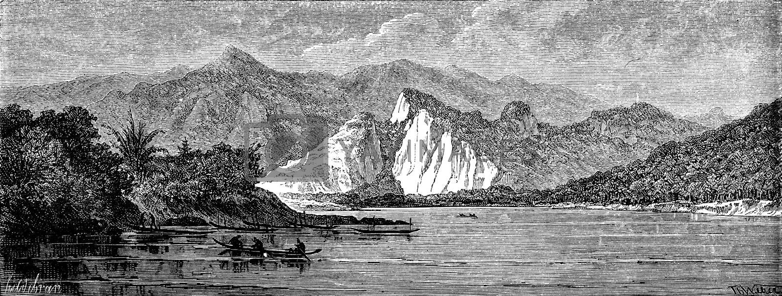 View of the river before reaching the Nam Hou, vintage engraved illustration. Le Tour du Monde, Travel Journal, (1872).