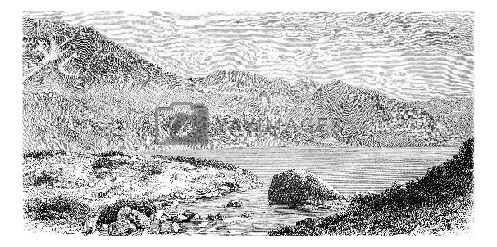 Lake Wielki Staw in the Valley of the Five Lakes, in Krkonose Mountains, Poland, drawing by G. Vuillier from a photograph, vintage engraved illustration. Le Tour du Monde, Travel Journal, 1881