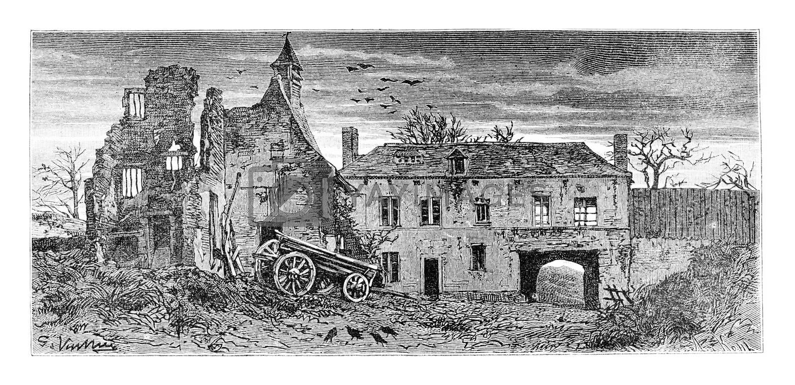 Hougomont Farm in Waterloo, Belgium, drawing by Vuillier based on a photograph, vintage illustration. Le Tour du Monde, Travel Journal, 1881