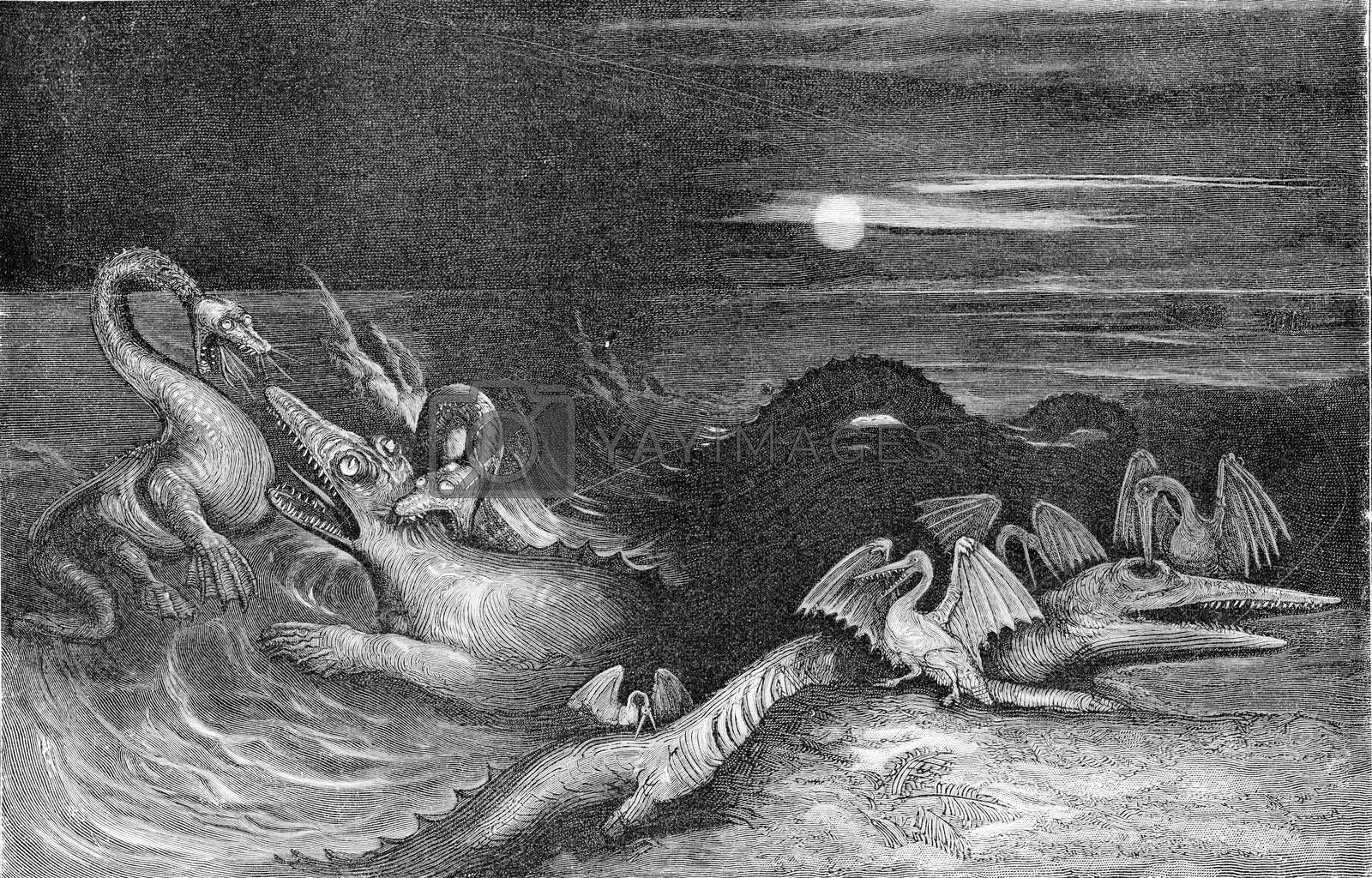 Combat of dragons in the Jurassic era of the secondary era, vintage engraved illustration. From the Universe and Humanity, 1910.
