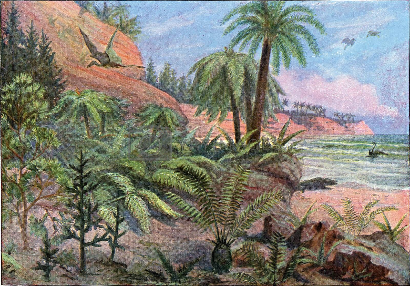 Landscape of the Jurassic Period, vintage engraved illustration. From the Universe and Humanity, 1910.