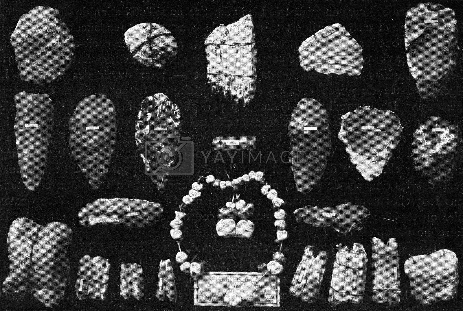Objects of art in flint and bone ornaments from the diluvial deposits of the Somme Valley, vintage engraved illustration. From the Universe and Humanity, 1910.