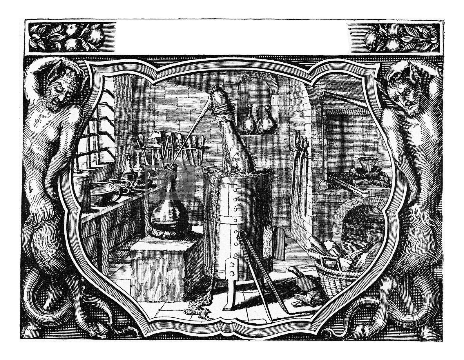Chemical laboratory of Michel Kusel in 1663, vintage engraved illustration. From the Universe and Humanity, 1910.