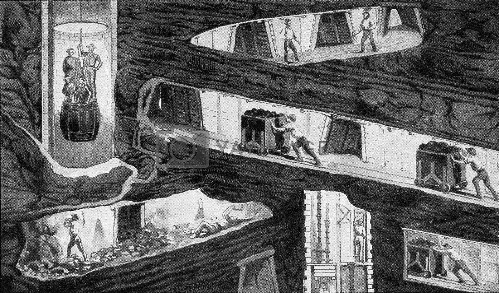 Section of a mine in the mid-nineteenth century, vintage engravi by Morphart