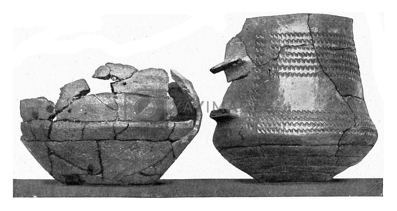 Pottery with parallel horizontal cracks, vintage engraved illustration. From the Universe and Humanity, 1910.