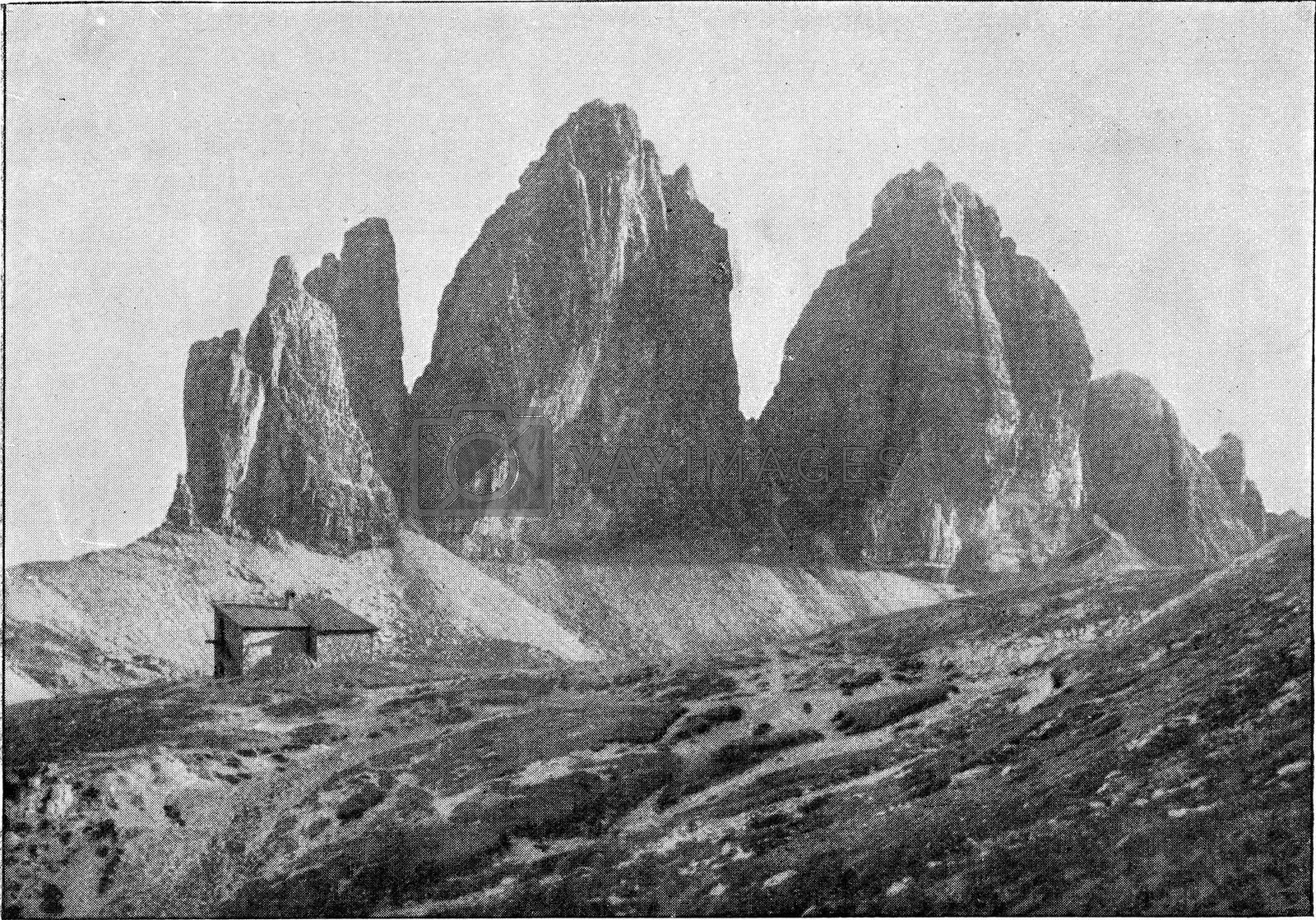 Royalty free image of The Three Peaks of the Dolomites, vintage engraving. by Morphart